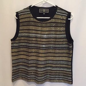 ST. JOHN Metallic Tank Gold Black Shimmer Stripes